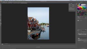 Arbetsyta för bildbehandling i Photoshop.